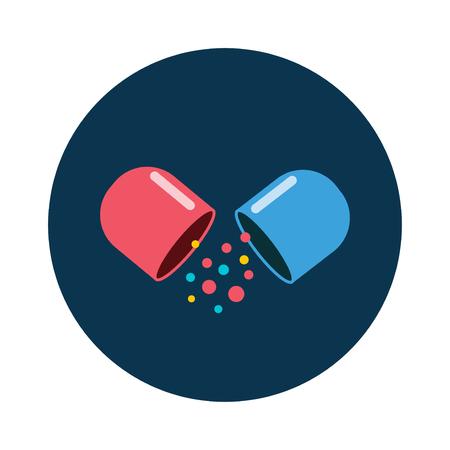Las píldoras de vitamina icono de pastillas de medicamentos y medicamentos de iconos de vector plana. las píldoras de vitaminas de colores icono ilustración vectorial plana drogas médico de dibujos animados. Ilustración de vector