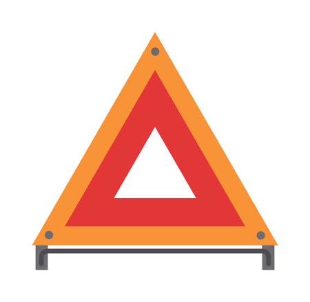 emergency: Red emergency road sign triangle and warning car accident road emergency sign flat vector. Red warning triangle emergency road sign flat vector illustration icon.