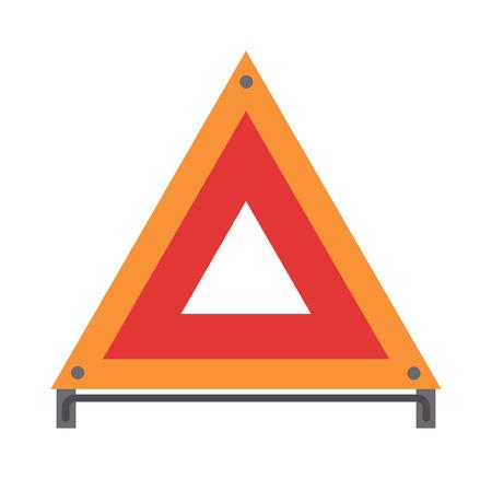 emergencia: roja de emergencia triángulo de señalización de la carretera y del piloto del accidente de emergencia Señal de circulación del vector plana. Roja de advertencia triángulo de señalización de la ilustración del vector del icono plana señal de tráfico.