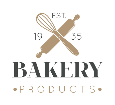 Bakery badge and bread logo badge icon modern style vector. Retro bakery label logo and bakery bread badge icon. Bakery badge design element isolated on white background