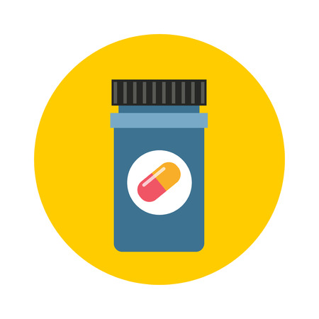 pill prescription: Medicine bottle in flat style and pill bottle isolated on color background. Prescription bottle icon. Pill bottle vector illustration icon.