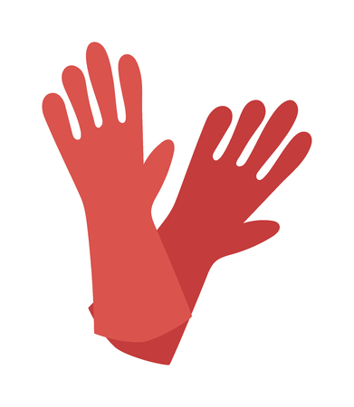 protective gloves: Red glove for hygiene cleaning and yellow rubber glove wash work protection. Rubber red gloves cartoon flat icon vector illustration. Illustration