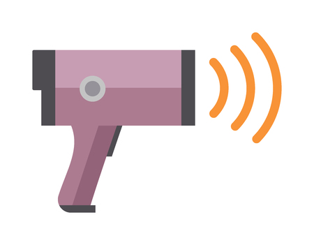 speed gun: Traffic speed trap camera and road police radar, electric road police radar technology vector. Road police radar speed security equipment flat vector illustration. Illustration