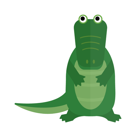 saltwater: Australian crocodile dangerous porosus and australian wildlife green crocodile danger predator flat vector. Australian saltwater green crocodile cartoon flat vector illustration.