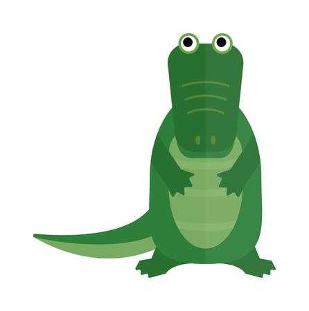 crocodile: Australian crocodile dangerous porosus and australian wildlife green crocodile danger predator flat vector. Australian saltwater green crocodile cartoon flat vector illustration.