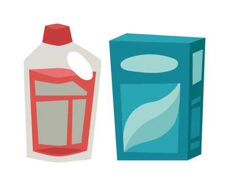 cleanser: Cleanser box, plastic bottle detergent chemical soap and detergent housework disinfectant equipment. Plastic detergent container and paper box flat vector illustration on white background. Illustration