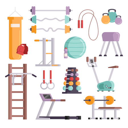gym: Vector illustration of gym equipment and training body gym sport equipment. Fitness sport gym exercise equipment workout flat set concept vector illustration.