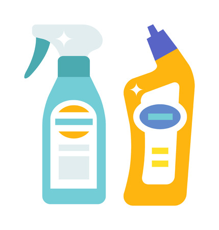plastic bottles: Household chemistry cleaning two plastic bottles, household cleaning container design. Plastic bottles of cleaning products household chemistry flat vector illustration isolated on white background.