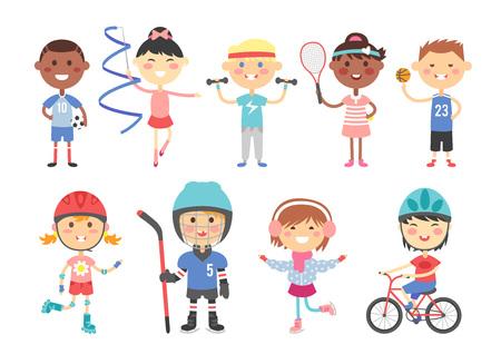 personajes del deporte con los niños juguetes y grupo de actividad deportiva niños, niños que juegan varios juegos de deportes como hockey sobre nosotros, fútbol, ??gimnasia, fitness, tenis, baloncesto, patinaje sobre ruedas, bicicleta plana del vector.