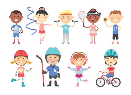 group fitness: Sport kids characters with toys and sport kids activity group, kids playing various sports games such us hockey, football, gymnastics, fitness, tennis, basketball, roller skating, bike flat vector.