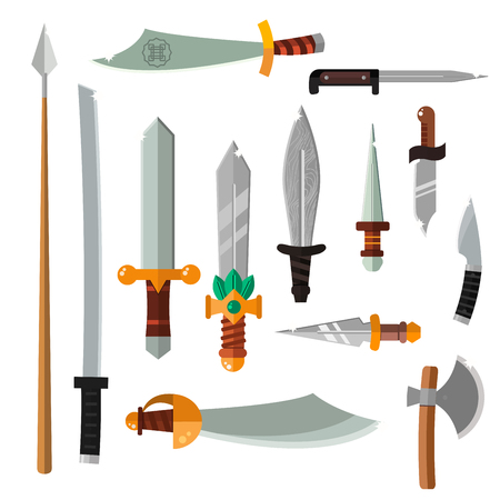 Edged weapons steel knifes collection set and game weapon knifes collection. Weapon collection swords, knifes, axe, spear with gold handles cartoon vector illustration.