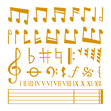crotchets: Gold music notes vector set and silhouette of music notes graphic icons. Vector gold icons set music note melody symbols vector illustration. Illustration