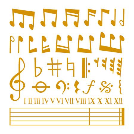 las notas musicales de oro conjunto de vectores y la silueta de notas de la música iconos gráficos. Vector los iconos del oro fijaron ilustración música símbolos nota de la melodía del vector.