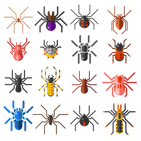 Flat spiders cartoon scary symbols and spiders insect flat design. Set of flat spiders cartoon colored icons vector illustration isolated on white background. Ilustracja
