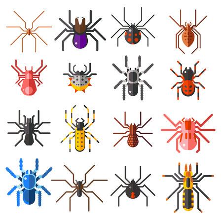 ragni piatti cartoni animati simboli e ragni spaventosi insetto design piatto. Set di ragni piane cartone colorato illustrazione vettoriale icone isolato su sfondo bianco.