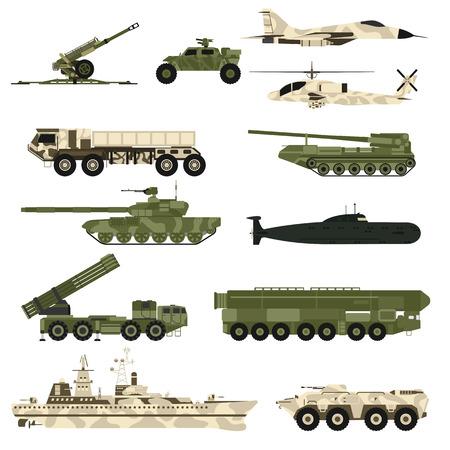 Militaire techniek leger, oorlog tanks en militaire industrie techniek pantser tanks in te stellen. Militaire techniek en armor tanks, helikopters, orkaan, raketsystemen, onderzeeër, pantserwagens vector.