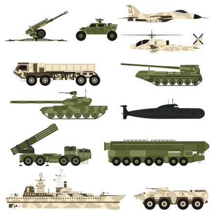 hurricane: Military technic army, war tanks and military industry technic armor tanks set. Military technic and armor tanks, helicopter, hurricane, missile systems, submarine, armored personnel carriers vector.