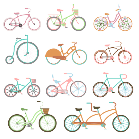 Vintage retro bicycle set and style antique sport vintage grunge bicycle flat vector. Vintage bicycle set riding bike transport flat vector illustration. Иллюстрация