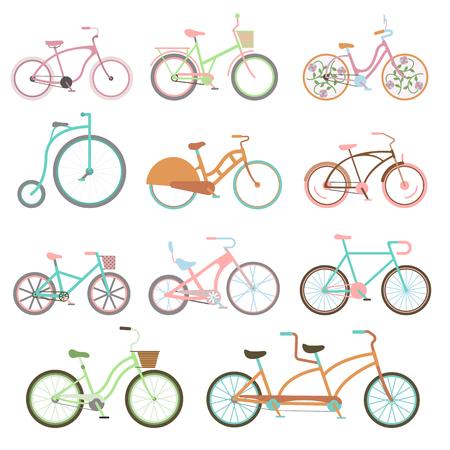 Vintage retro fiets set en stijl antieke sport vintage grunge fietsflat vector. Uitstekende fiets set rijden fiets vervoer plat vector illustratie.