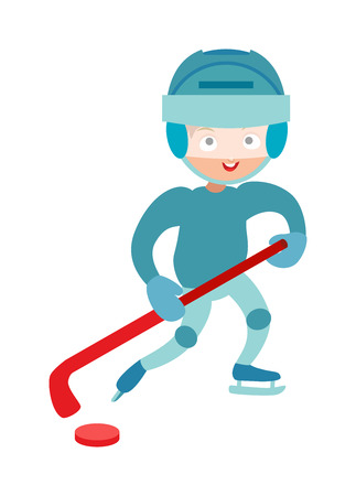 attitude boy: Hockey player boy with hockey stick, attitude and bandage on face. Winter sport hockey player boy athlete uniform helmet equipment. Hockey player boy cute pretty tough confident smiling male vector.