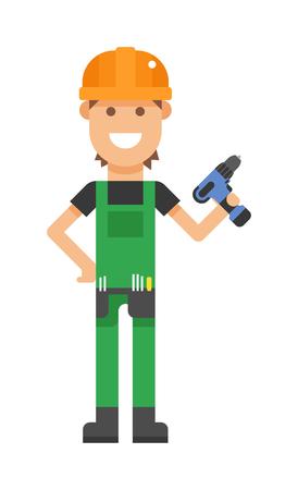 serviceman: Serviceman professional and serviceman maintenance repair. Garage vehicle man occupation fixing mechanic serviceman. Repair serviceman with tool screwdriver maintenance repair cartoon character vector