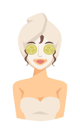 pamper: Beautiful spa girl with towel her head applying face mask. Cute spa girl cosmetic face mask puts cucumbers on eyes, doing lifting. Spa girl applying facial clay mask beauty lifting treatments vector.