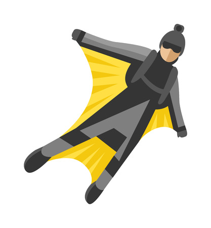 parachute jump: Wingsuit man jumping and wingsuit man active hobby. Wingsuit man flying man high risk flight air sport, man character. Wingsuit man jumper character skydiving flying suit man parachuting sport vector. Illustration