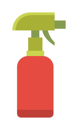 disinfectant: Water spray bottle and household spray bottle. Domestic spray washing handle equipment. Colorful foggy spray bottle clean plastic hygiene container chemical or water sprayer disinfectant flat vector. Illustration