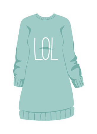 sweatshirt: Cotton female sweatshirt and sport sweatshirt female. Young people sweatshirt, women pullover. Female sweatshirt blue style hoodie and warm cotton jumper clothing design flat vector illustration.
