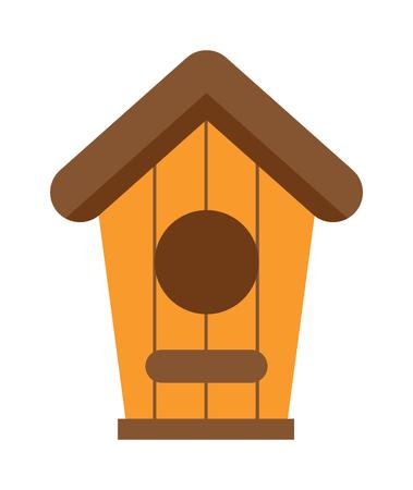 nido de pajaros: Casa cubo p�jaros hechos a mano y la caja de nido de madera. nidal de seguridad, casa de las aves silvestres. Hechos a mano caba�a de madera con techo para las aves, a salvo de caja de nido fr�o y protecci�n contra el viento del vector plana.