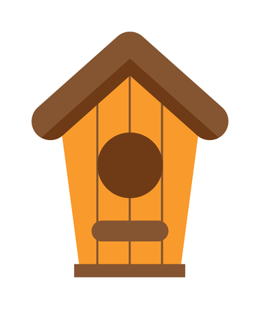 birds nest: Nature handmade birds house and wooden nesting box. Safety nesting box, wildlife birds house. Handcrafted wooden hut with roof for birds, safe from cold and wind protection nesting box flat vector.