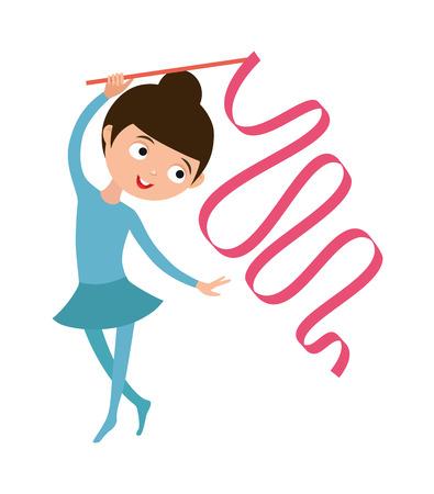 gymnast girl: Gymnast girl young sport and cute gymnast girl with ribbon. Gymnast girl flexibility gymnastic strength. Teenager doing gymnastics dance with ribbon little gymnast girl rhythmic dance character vector