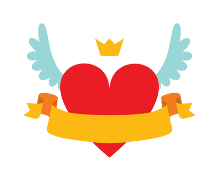 yellow ribbon: Heart logo with crown, wings and heart logo graphic design. Heart logo romantic fairytale concept. Red heart logo abstract with crown, wings and yellow ribbon for your text flat vector illustration. Illustration