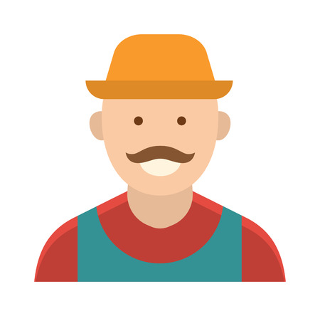 food industry: Harvest country farmer and organic healthy farmer. Standing people worker farmer business agricultural natural industry. Funny farmer with mustache character in straw hat farming food person vector. Illustration