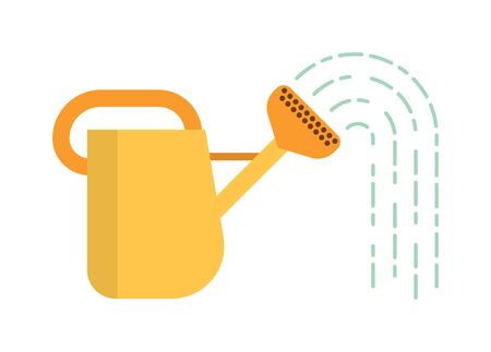 irrigation: Yellow watering can, spring gardening watering can. Summer gardening agriculture watering organic flora. Watering can with water summer garden tool equipment metal irrigation flat vector illustration.