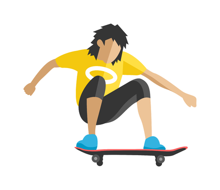 skateboard park: Skateboarder jump fun sport and outdoor skateboarder urban jump. Lifestyle street culture recreation trick.Skateboarder jump doing trick in skate park extreme sport fun urban character flat vector.