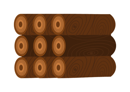 kindle: Stack of firewood logs and log stack energy industry. Log stack nature forest biofuels kindle charcoal, log stack woodpile. Stack of nine wooden logs firewood lumber tree cut flat vector illustration.