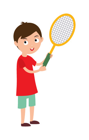 good looking: Sport tennis player and athletic tennis player with racket. Tennis player health racket sport leisure. Good looking tennis player prepared for active game, action sport competition cartoon vector. Stock Photo
