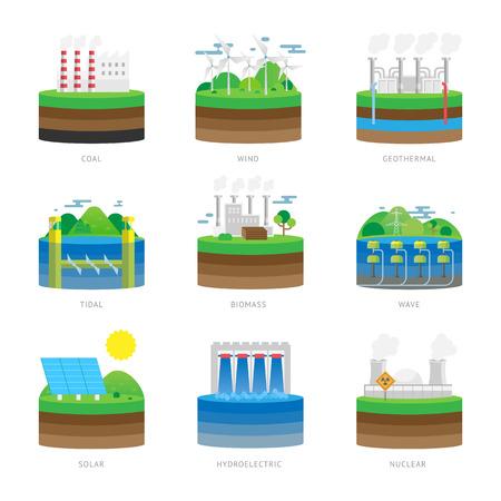 전원 대체 에너지 및 친환경 에너지 기술. 신 재생 자연 생태 에너지 환경 대체 에너지. 대체 에너지 소스 전기 전력 자원 에코 벡터 일러스트 레이 션