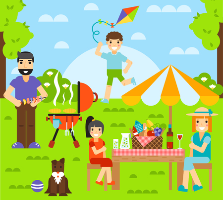 outdoor dining: Outdoor family together and happy fun outdoor family. Happy outdoor family have rest with dog. Friends friendship outdoor family dining people together happy fun concept vector illustration.
