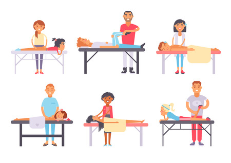 People different massage and health care people massage. Wellness treatment people body massage, lifestyle skin skin care face massage. Relaxing people massage different spa heath care vector. Stock Illustratie