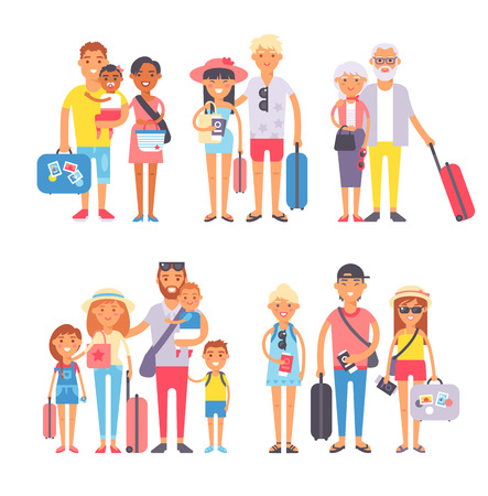 Different People On Vacation And Traveling Happy Family Travel Together