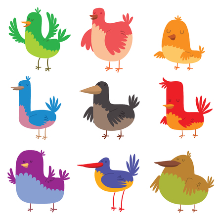Funny birds character and colorful funny birds. Cute funny birds happy comic wild collection zoo different birds. Funny birds doodle cartoon collection wing animal character vector illustration. Illustration