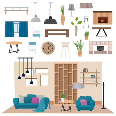living room wall: Living room interior furniture and living room interior design. Luxury living room interior wall architecture. Modern living room interior with wood floor apartment furniture vector illustration. Illustration
