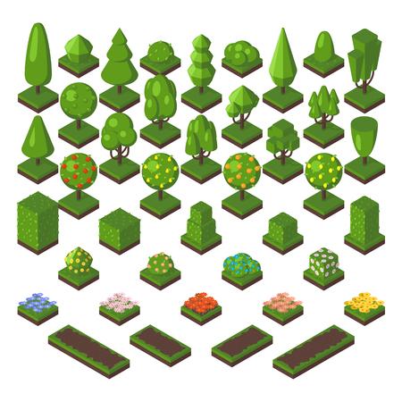 Groene isometrische boom en tuin isometrische groene boomset. Isometrische boom natuurlijke lente gras elementen. Kaart foliage park eco concept. Isometrische boom set groene bos natuur vector illustratie. Stock Illustratie