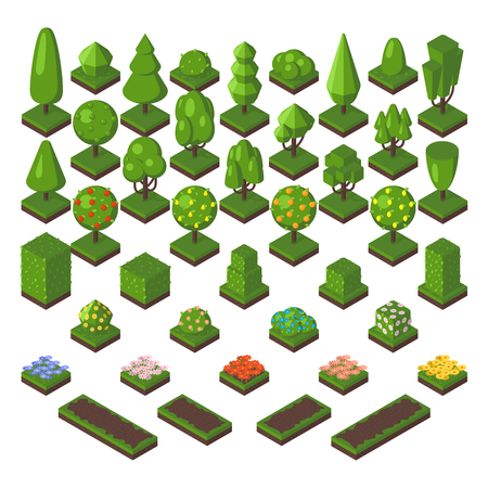 Green isometric tree and garden isometric green tree set. Isometric tree natural spring grass elements. Map foliage park eco concept. Isometric tree set green forest nature vector illustration.