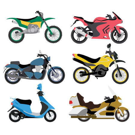 Motorcycles ride sport and cycle transportation motorcycles. Extreme classic motorcycles fast motocross custom. Motorcycle types multicolor motorbike ride speed sport transport vector illustration. Illustration