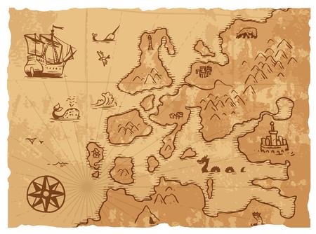 Vintage old map antique and retro vintage paper old map. Vintage old map world navigation art parchment manuscript. Old vintage retro ancient map antique history geography background vector illustration 일러스트
