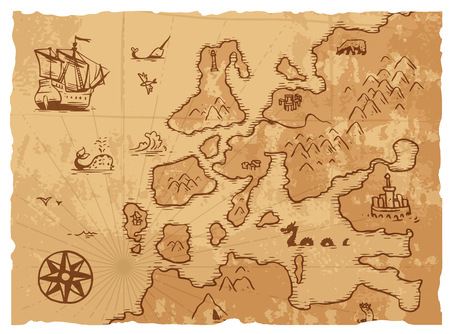 ancient paper: Vintage old map antique and retro vintage paper old map. Vintage old map world navigation art parchment manuscript. Old vintage retro ancient map antique history geography background vector illustration Illustration