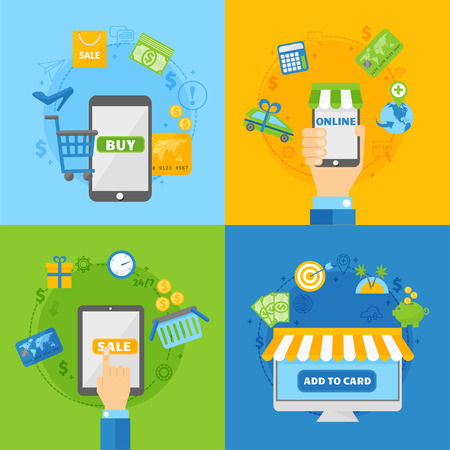 transfers: Icons for online payment gateway and mobile online payments, electronic funds transfers and bank wire transfer. Computer shopping concepts of online payment methods flat design vector illustration. Illustration